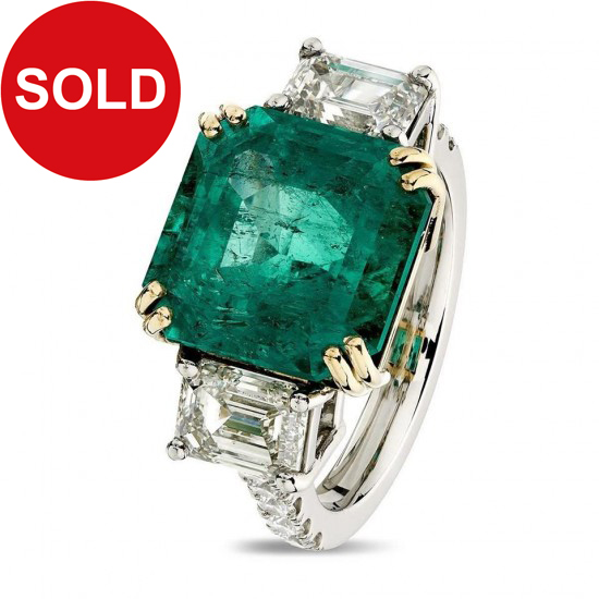 6.84ct Square Octagon Colombian Emerald And 2.22ct Diamonds Platinum Ring