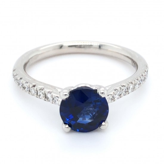 Platinum 1.74ct Round Dark Blue Sapphire & Diamonds Ring
