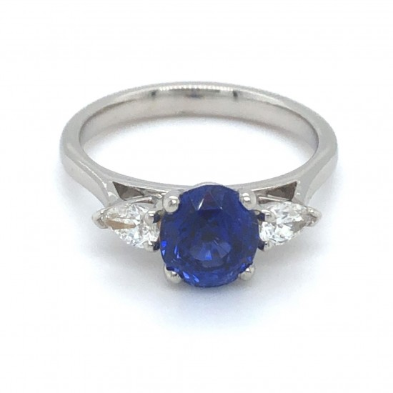Platinum 1.64Ct Oval Ceylon Sapphire & 0.27Ct G-VS Pear Shape Diamond Trilogy Ring