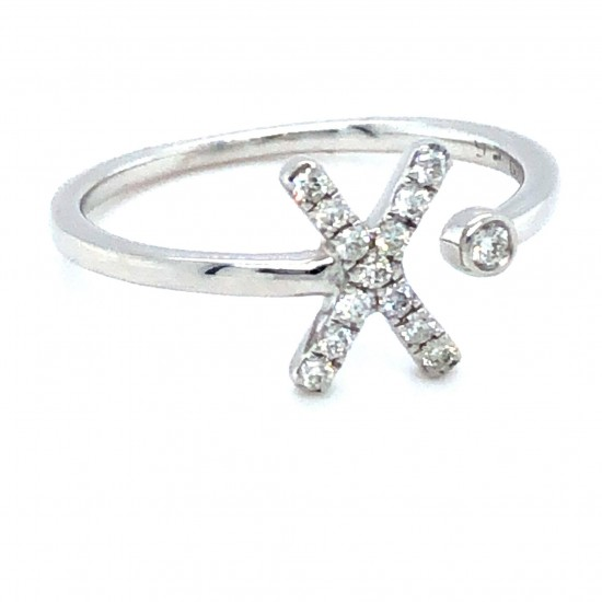 "9ct White Gold 0.14ct Diamonds Ring ""X"""