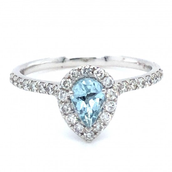 18ct White Gold 0.64ct Pear Aquamarine & Diamonds Ring