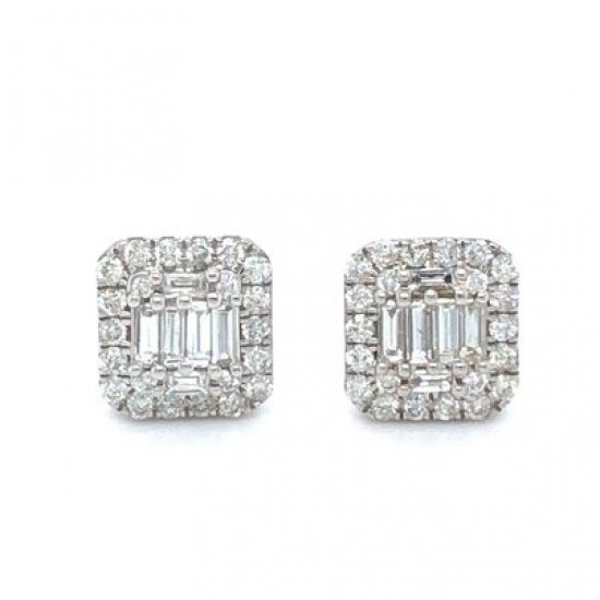 0.66ct 9ct White Gold Stud Earrings