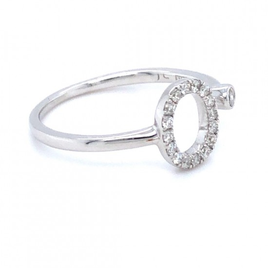 "9ct White Gold 0.15ct Diamonds Ring ""O"""