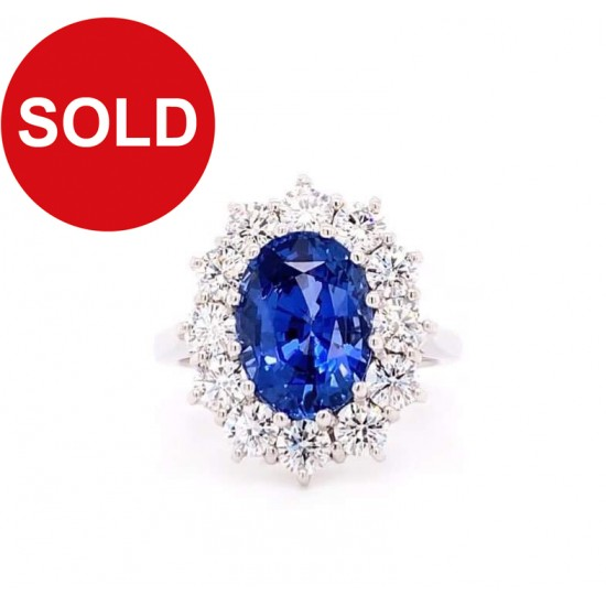4.48ct Oval Ceylon Blue Sapphire And 1.53ct Diamonds 18ct White Gold Ring