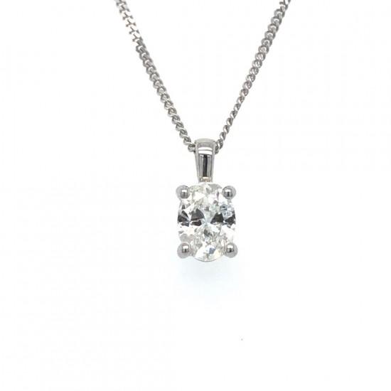 0.55ct 18ct White Gold Oval Shape Diamond Pendant