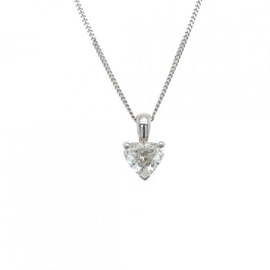 0.62ct 18ct White Gold Heart Shape Diamond Pendant
