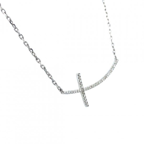 0.10ct 18ct White Gold Cross Necklace