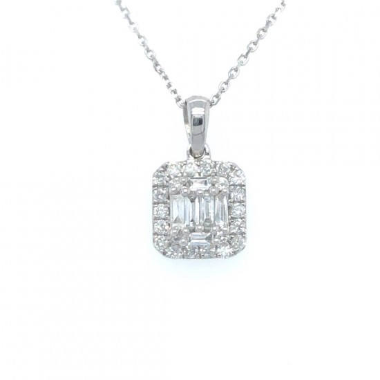 0.34ct 18ct White Gold Cluster Pendant