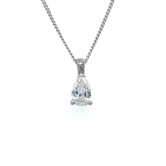 0.50ct 18ct White Gold Pear Shape Diamond Pendant