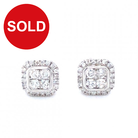 0.24ct 18ct White Gold Stud Earrings