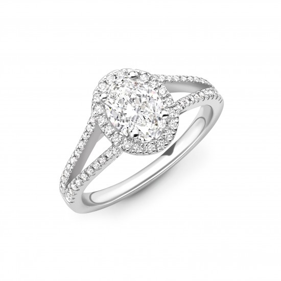 4 claw split diamond band halo engagement ring
