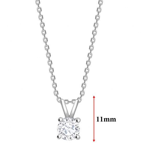 """4 claw round diamond solitaire pendant on a 16"""" gold chain"""