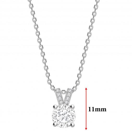 "split diamond bail round diamond solitaire pendant on a 16"" gold chain"
