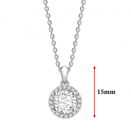 """halo setting round diamond solitaire pendant on a 16"""" gold chain"""