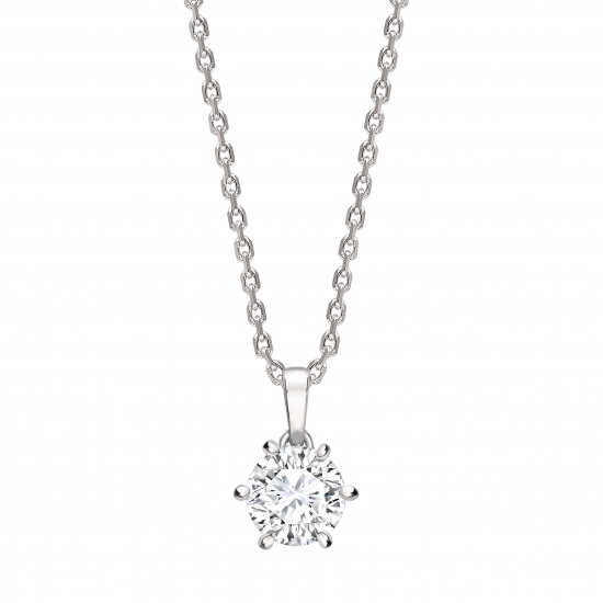 """6 claw round diamond solitaire pendant on a 16"""" gold chain"""