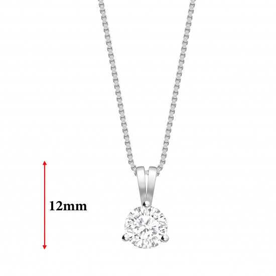 """3 claw round diamond solitaire pendant on a 16"""" 18ct gold chain"""