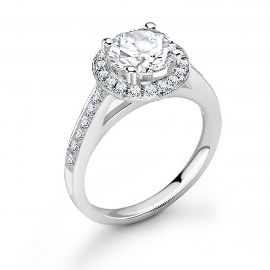 halo set diamond engagement ring