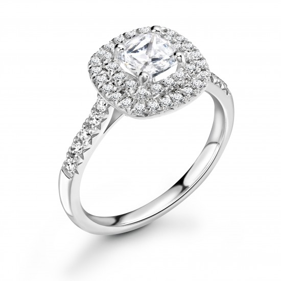 halo set diamond engagement ring