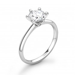 6 claw plain shoulders solitaire ring