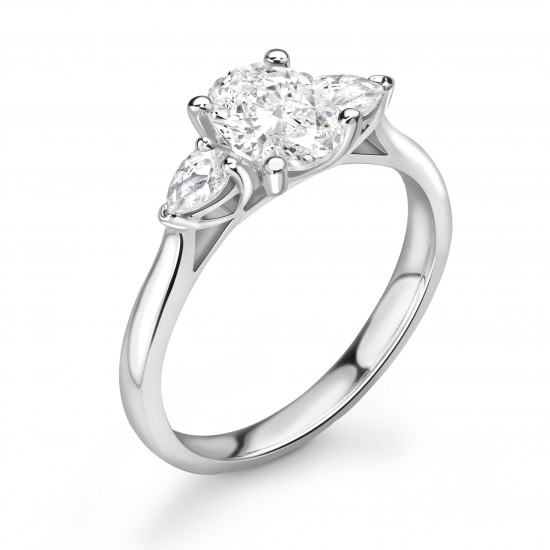 4 claw with pear shape shoulders engagement ring