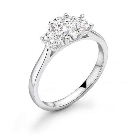 oval shape diamond trilogy wedfit ring