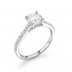 4 claw diamond band engagement ring