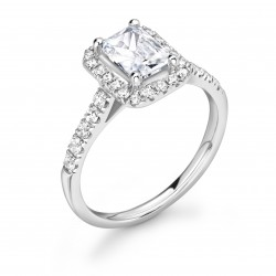 4 claw diamond band halo engagement ring
