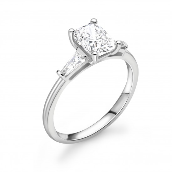 4 claw with taper baguette shoulders engagement ring