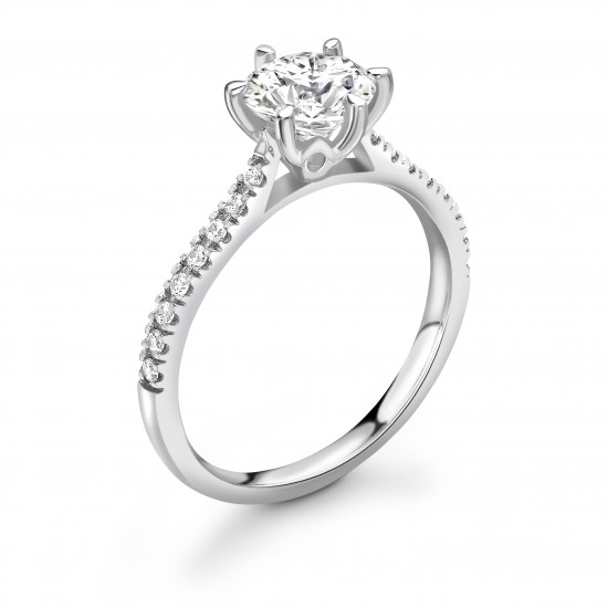 6 claw diamond band engagement ring