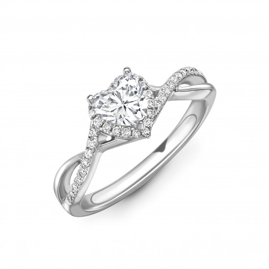 3 claw diamond band halo engagement ring