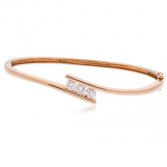 0.75ct 18ct Rose Gold Diamond Bangle