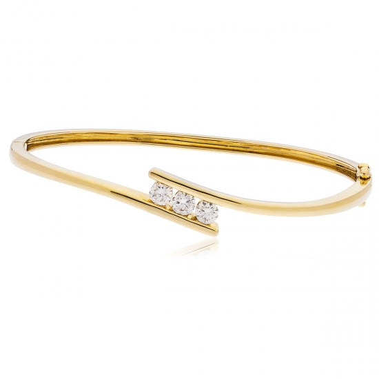 0.33ct 9ct  Yellow Gold Diamond Bangle