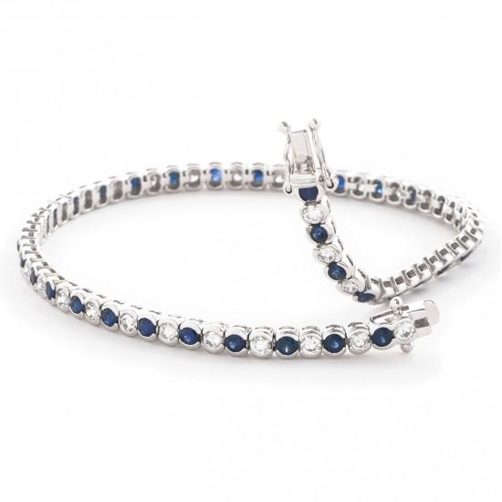 4.50ct 18ct White Gold Blue Sapphire Bracelet
