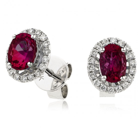 0.90ct 18ct White Gold Ruby Earrings