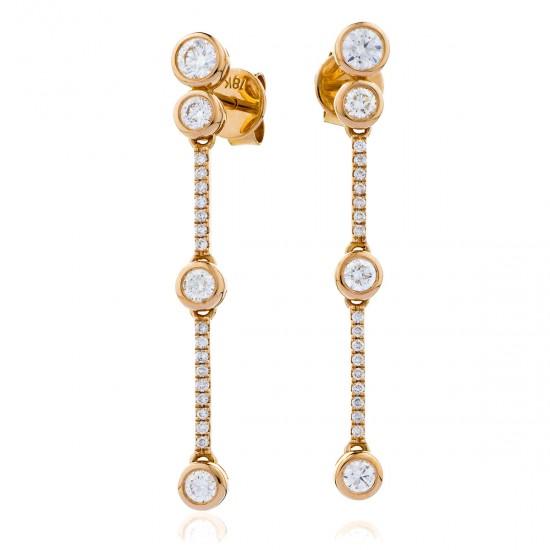 0.75ct 18ct Rose Gold Drop Earrings
