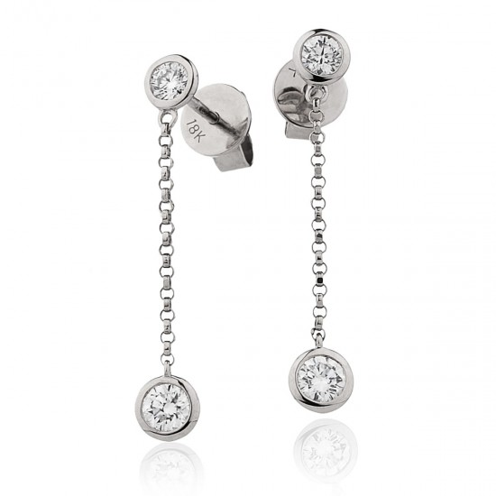 0.55ct 18ct White Gold Drop Earrings