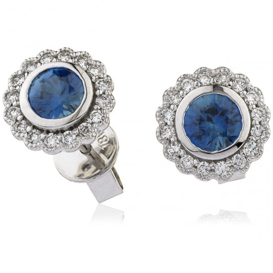 0.50ct 18ct White Gold Blue Sapphire Earrings