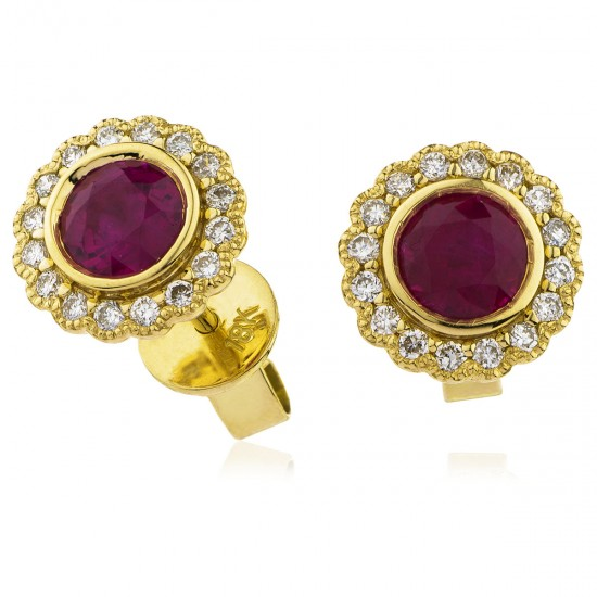 0.80ct 18ct Yellow Gold Ruby Earrings