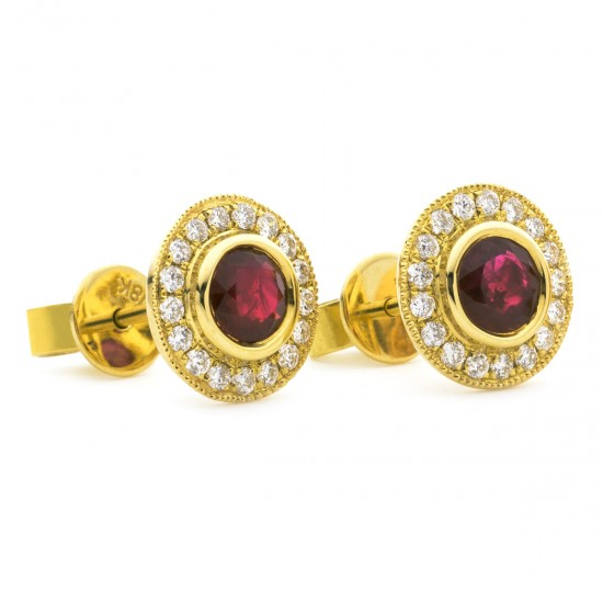 0.55ct 18ct Yellow Gold Ruby Earrings