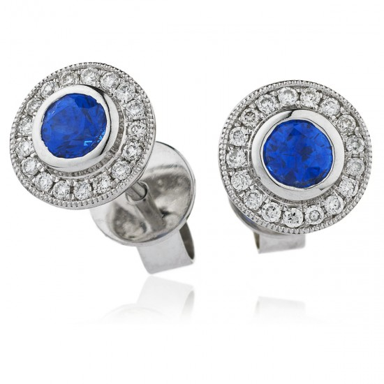 0.80ct 18ct White Gold Blue Sapphire Earrings