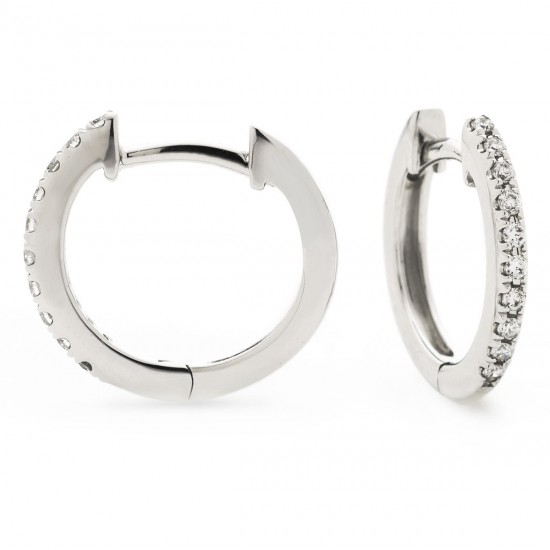 0.06ct 18ct White Gold Hoop Earrings
