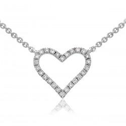 0.10ct 18ct White Gold Heart Pendant