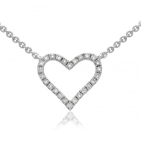0.10ct 18ct White Gold Heart Pendant
