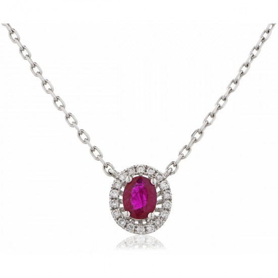 0.50ct 18ct White Gold Ruby Pendant