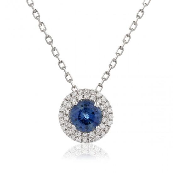 0.96ct 18ct White Gold Blue Sapphire Pendant