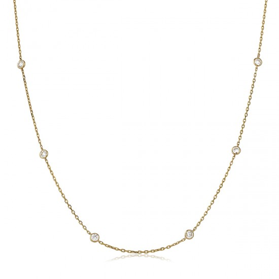 0.25ct 18ct Rose Gold Tennis Necklace
