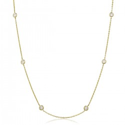 0.32ct 18ct Yellow Gold Tennis Necklace
