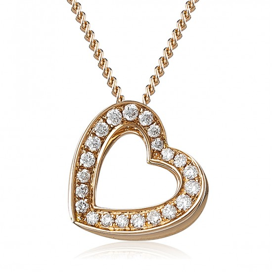0.20ct 18ct Rose Gold Heart Pendant