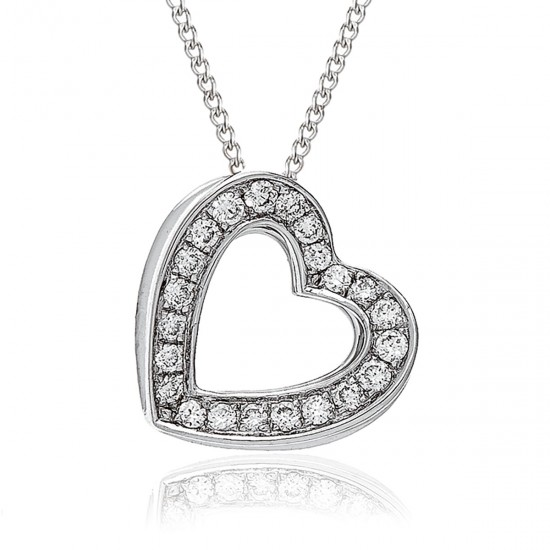 0.20ct 18ct White Gold Heart Pendant
