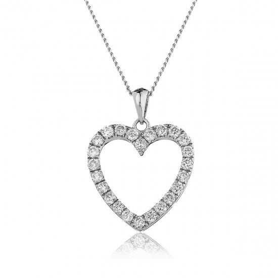 0.55ct 18ct White Gold Heart Pendant